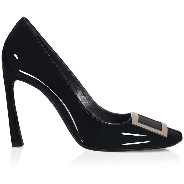 Roger Vivier - Belle Vivier Trompette Pumps in Patent Leather ($615) ❤ liked on Polyvore featuring shoes, pumps, black, patent leather shoes, black patent pumps, roger vivier, black patent leather shoes and black shiny pumps