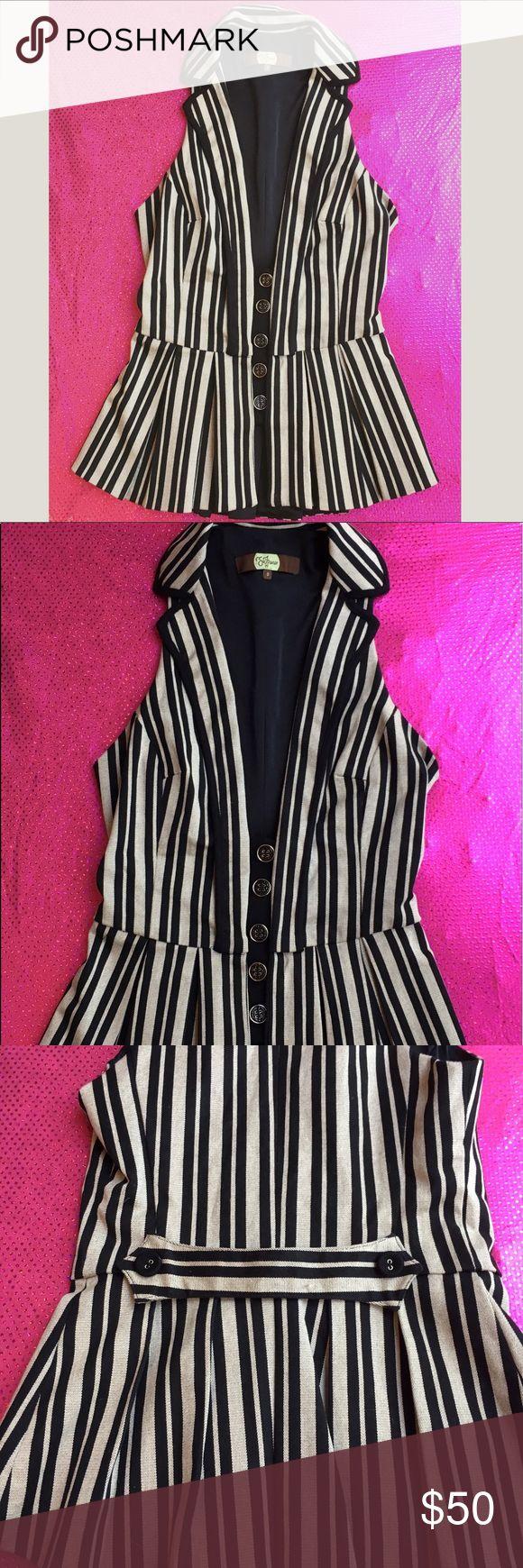 ❗️SALE ❗️Eva Franco Striped Vest Eva Franco Striped Grey and Black tapered vest Eva Franco Other