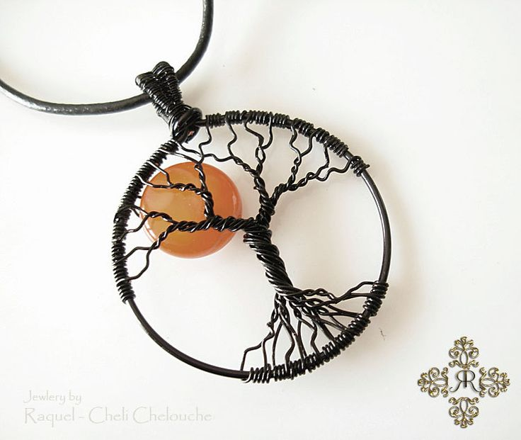 Harvest Moon Tree of Life Pendant,  Full moon red Agate, Autumn Orange Moon- Hand made by Raquel by Raquelchelouche on Etsy. A beautiful gift for only $ 42 -