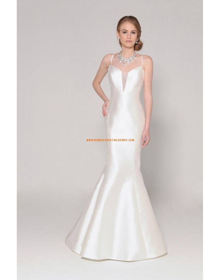 Robe de mariée sirène satin avec bretelles 2015