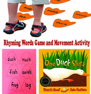 Webbed duck feet add extra flair to this study of rhyming words from the book One Duck Stuck by Phyllis Root. Children play a traditional matching game and then waddle like ducks across large rhyming duck feet taped to the floor or sidewalk.