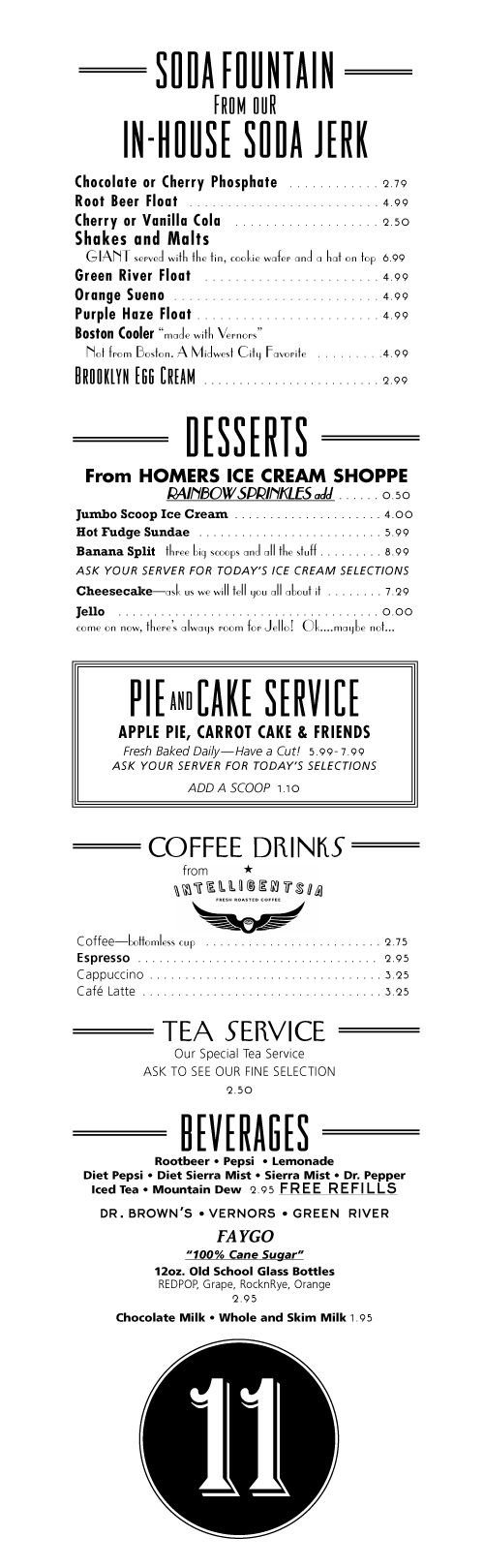 Art of the Menu: Eleven City Diner  / drinks list