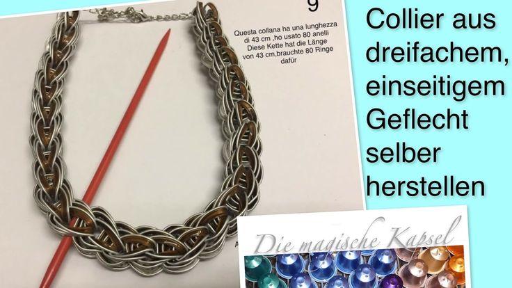 DIY geflochtenes Collier dreifach, einseitig - Schmuck Anleitung - die m...