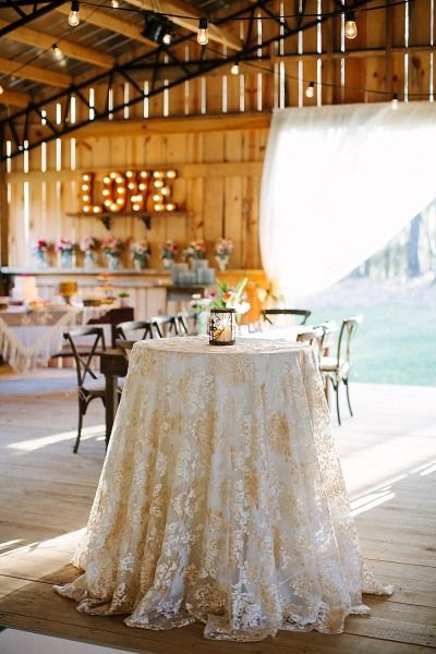 Gilded tablecloth: http://www.stylemepretty.com/north-carolina-weddings/chapel-hill-north-carolina/2015/06/19/colorful-spring-north-carolina-farm-wedding/ | Photography: Anna Routh - http://annarouthphoto.com/