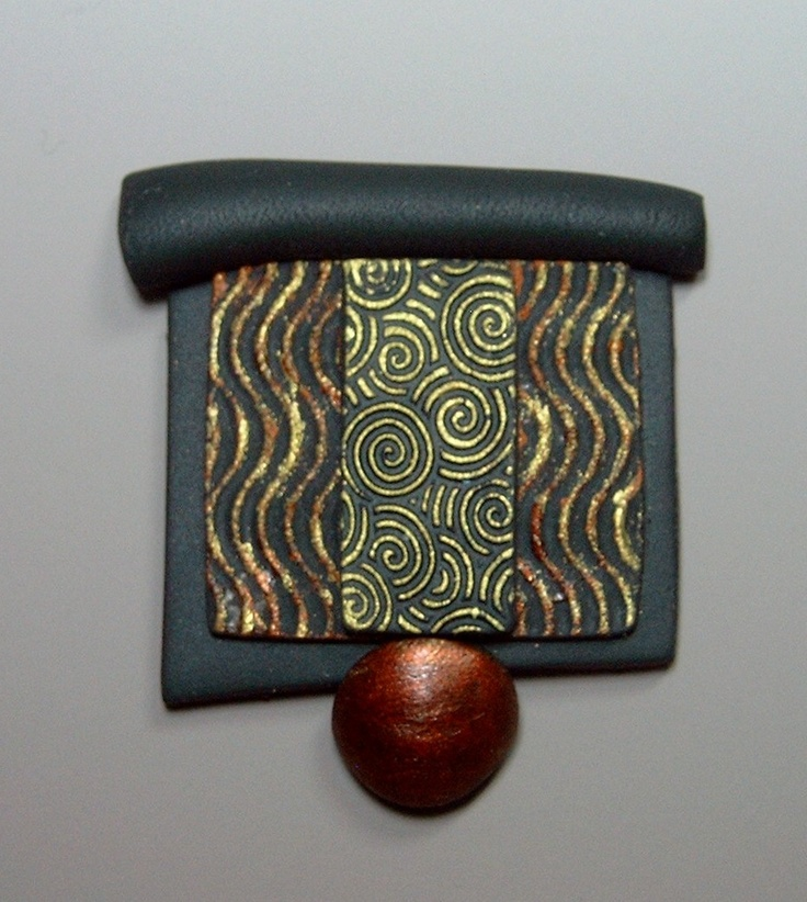 Japanese inspired pin made with Makin's Clay no bake air dry polymer clay by Jacqueline Lee