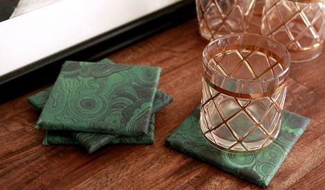 Malachite Coasters. Buy coasters, mogpodge, and fabric at Joannes and tile from hardware store for half the price.