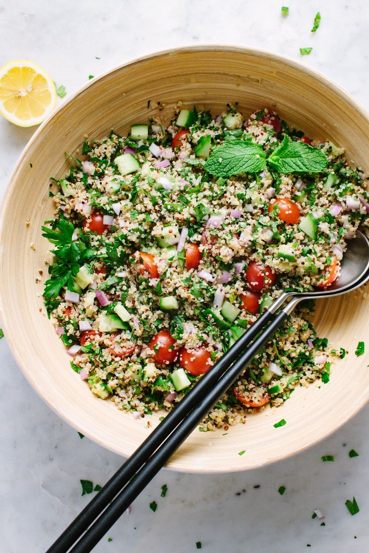 Quinoa Tabbouleh with hemp hearts is light and healthy side or main salad featur…