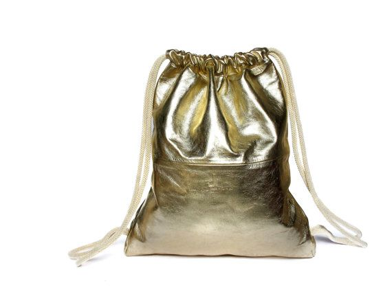 Gold leather backpack purse  multi sack leather bag SALE by JUDtlv