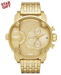 Diesel Watch, Men's Gold-Tone Stainless Steel Bracelet 51mm DZ7287