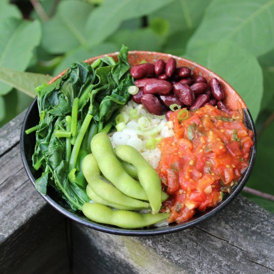 HCLF Vegan  Raw til 4  Tomato Basil Sauce over rice with a side of beans and steamed greens