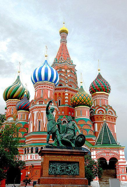 St. Basil's Cathedral in Moscow, Russia, looks like a building from Candyland with its vivid colors, but it's definitely a sight to behold in person. Ivan the Terrible commissioned to build this in the 15th century, but it wasn't until the 16th century that the domes were painted with multicolored patterns.