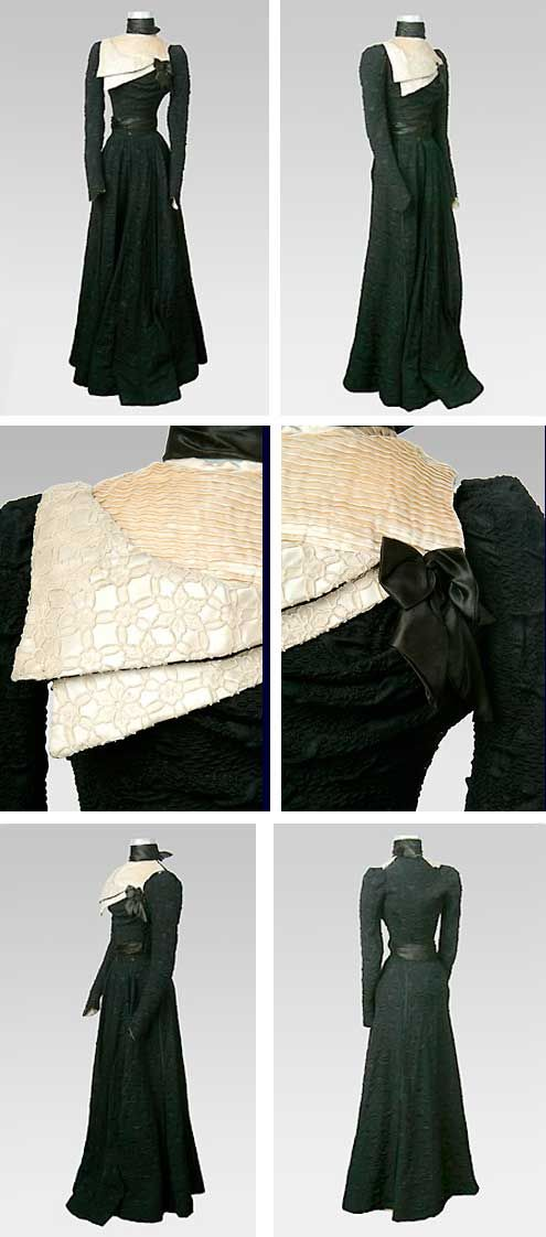 "Two-piece dress, 1890s. Woven silk & lace. Fitted bodice & skirt of black silk cloque (which means ""blistered""), with white satin pleated neck insert & lace collar. Bodice has an assymetric neck insert of pleated white silk satin and a lace collar. Collar on insert is high & boned, and there is a tiny bow at lower left corner of neckline insert. Sleeves are slightly puffed at upper arm and fitted below the elbow. Skirt is flared and floor-length. Drexel Univ. Costume Collection"