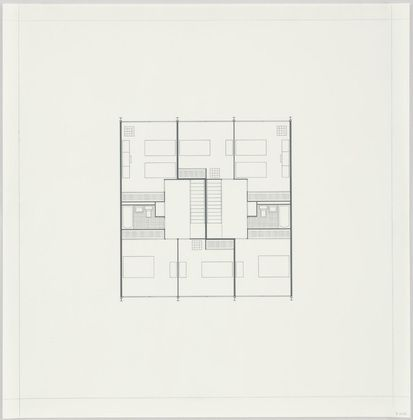 Ludwig Mies van der Rohe. Pavilion Apartments and Town Houses, Lafayette Park, Detroit, MI, Plan. 1955-63