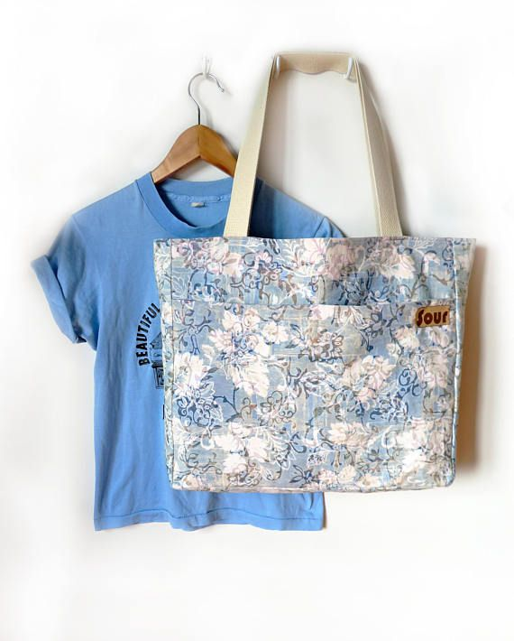 Otherwise Wild// Large Floral Blue and White Market Tote
