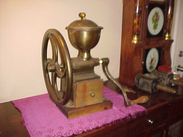 "Antique 1880's Peugeot Freres 13"" Wheel Brass Body Coffee Mill, Shop Rubylane.com"
