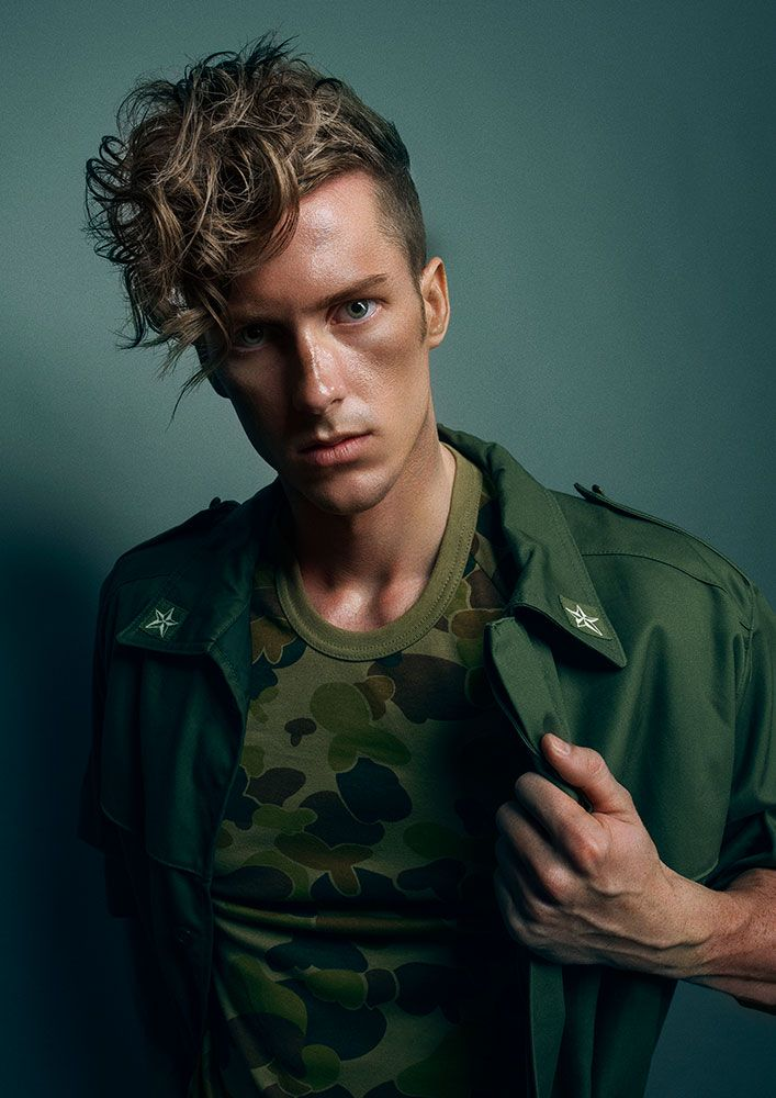 Rugged Men in camouflage gear is the name of the game in this #hair collection by Rokstar Salonz's Brodie-Lee Stubbins. Strong parts, distressed #texture and sophisticated lines are seen throughout. #men #beauty #hairstyles
