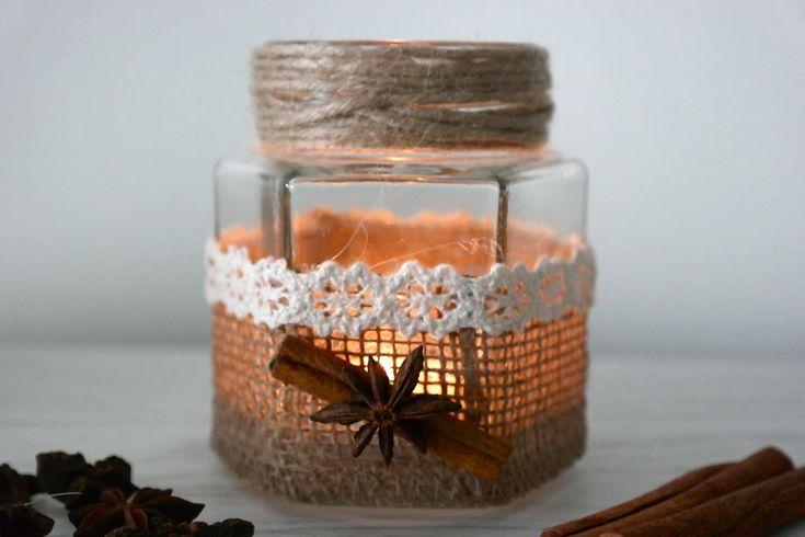 U mnie na wsi: Jesienny lampion ze słoika - DIY