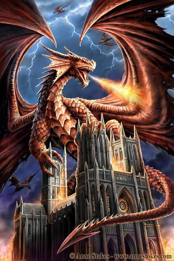 Dragon and Church - Ann Stokes ~ http://ironshod.deviantart.com/