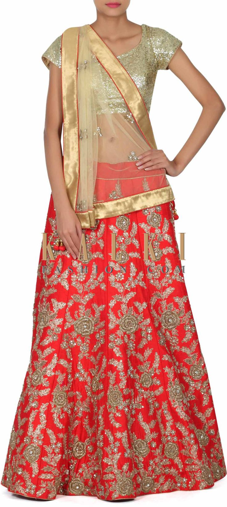 Buy this Red lehenga with zardosi embroidered kali only on Kalki