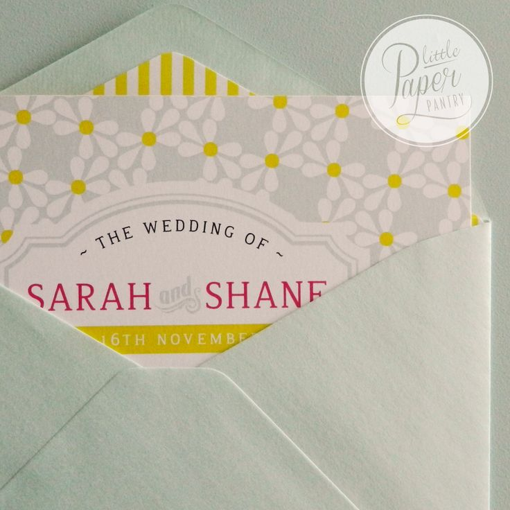 a happy pattern of lemony yellow stripes and a soft mint green envelope and a floral card.