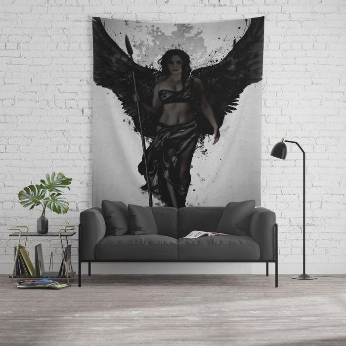 Dark Valkyrja Wall Tapestry #valkyrie #valkyrja #viking #woman #warrior #angel #wings #spatter #dark #tapestry #walltapestry #homedecor