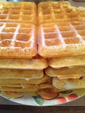 The BEST homemade waffles! Changed the milk for buttermilk, added 1 tsp of vanilla and 2Tbsp instead of 2 tsp of sugar.