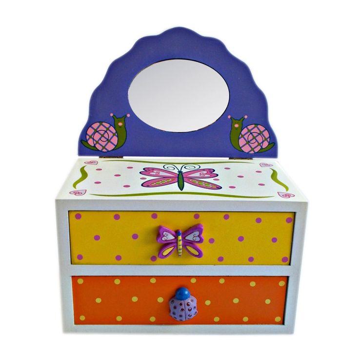 Cutie pentru bijuterii cu 2 sertare si cu oglinda, creata din lemn si imprimata cu modele vesele de fluturi, flori, melci, buburuze, inimioare si buline.
