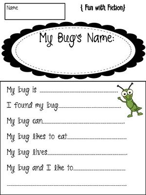 Now I'm giving credit to the right person.  The previous picture I posted of the cute bugs came from this blog.  This is the activity that she uses with the bugs the students have made.  Great writing activity for fiction and non-fiction.