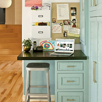 #Kitchen Docking Station | A sliver of a desk—only 30 inches wide—is all you need for your laptop and the kids' paperwork.