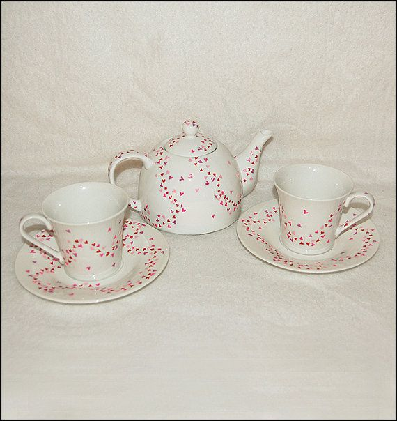 Hand Painted Floating Hearts Valentine Tea by SerendipityCrafts, $50.00