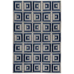 Forming almost an optical illusion quilt indigo with the careful placement of the contrasting - Alfombras contemporaneas ...