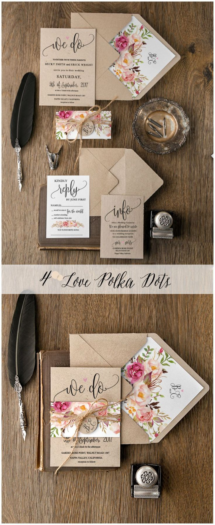 deer hunter wedding invitations%0A  u   c  Rustic Floral eco wedding invitations with calligraphy printing in boho  style