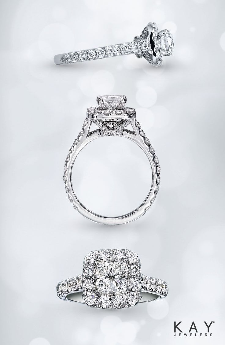 Hollywood glamour comes alive in this princess- cut diamond engagement ring from Neil Lane Bridal.