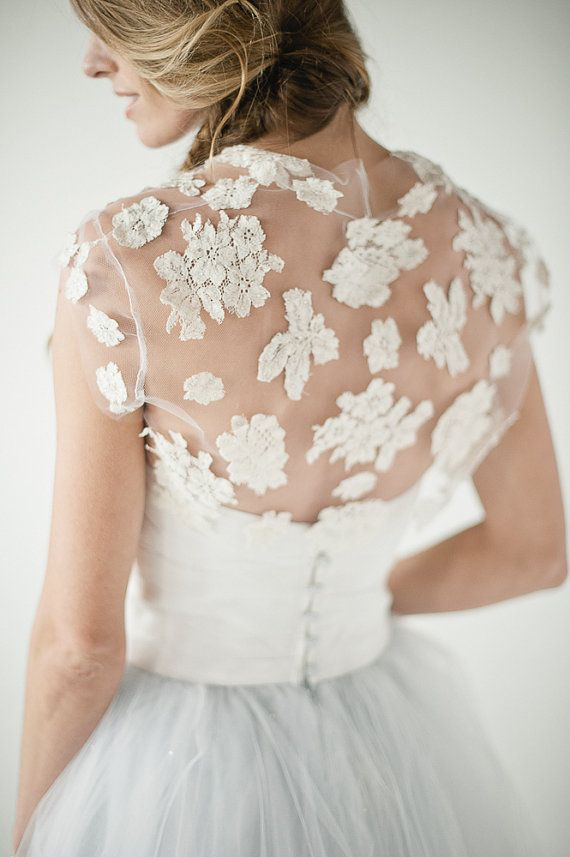 Jean Lace Bolero on tulle by chavianocouture on Etsy, $525.00