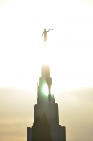 Very cool shot. At first glance the sun appears to go right through the steeple. Phoenix Arizona Mormon/LDS Temple