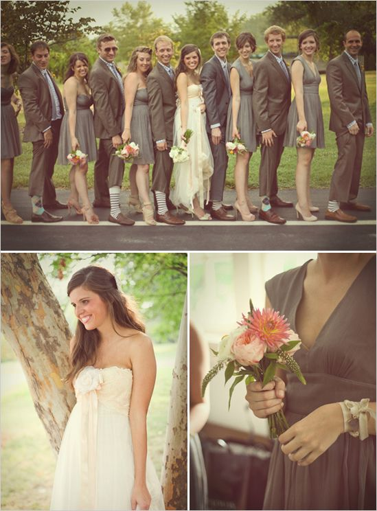 bouquetWedding Parties, Nude Shoes, Anthropology, Grey Suits, Grey Weddings, Bridesmaid And Groomsmen, Grey Bridesmaid Dresses, Bridal Parties, Grey Dresses