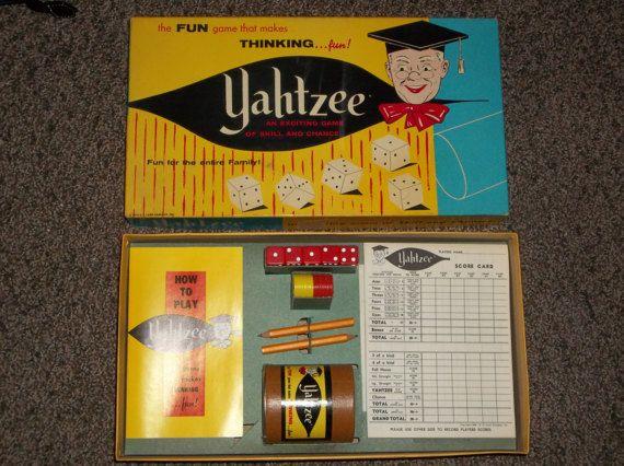 vintage Yahtzee game 1956 dice game vintage game vintage