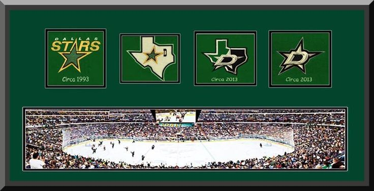 Dallas Stars American Airlines Center Framed & Double Matted With Dallas Stars Wool Felt Logos