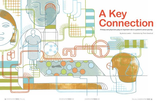 'A Key Connection' conceptual illustration for Cancer Fighters Thrive magazine by ©Thom Sevalrud. Represented by i2i Art Inc. #i2iart