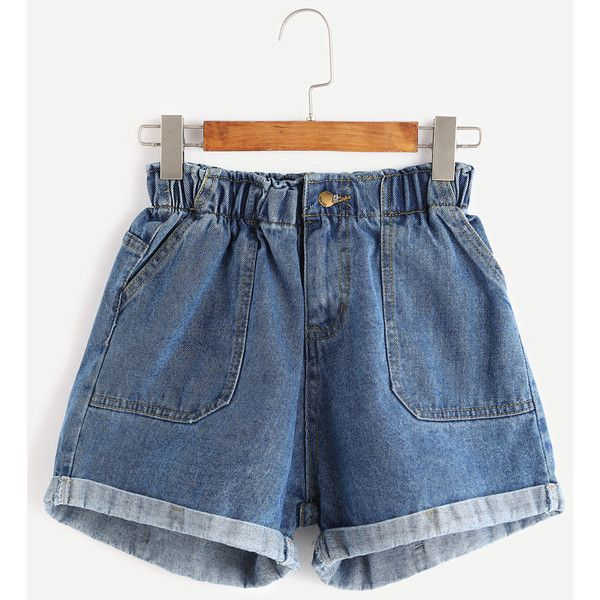 Blue Elastic Waist Rolled Hem Denim Shorts ($14) ❤ liked on Polyvore featuring shorts, blue, rolled denim shorts, elastic waistband shorts, denim short shorts, blue denim shorts and jean shorts