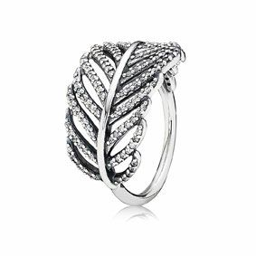 PANDORA sterling silver feather ring with microset cubic zirconia $139