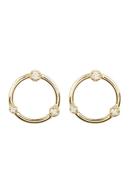 13922d3ac53df Image of Bony Levy 18K Yellow Gold Diamond Open Circle Stud Earrings ...