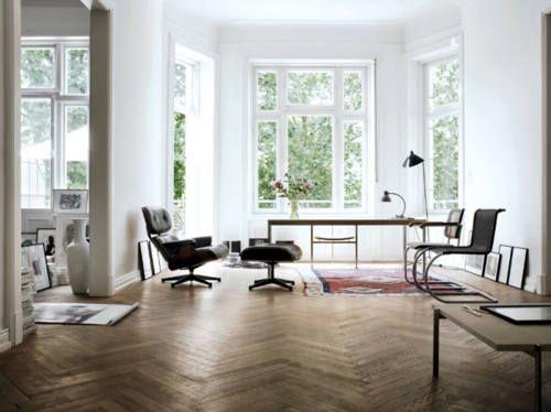 .: Open Spaces, Chairs, Interiors, Eames, Living Room, Apartment, Herringbone Floors, Bays Window, White Wall