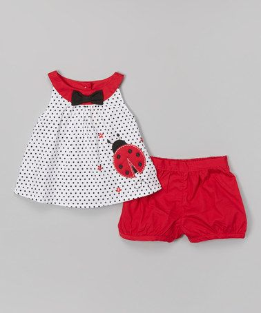 Another great find on #zulily! White & Red Ladybug Yoke Dress & Bloomers - Infant by Donita #zulilyfinds