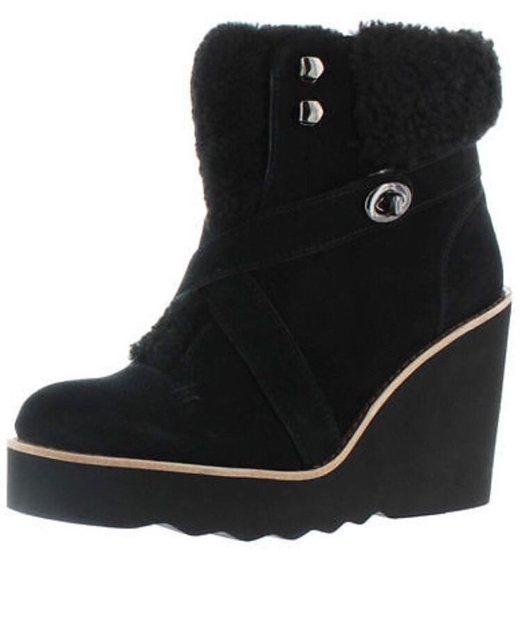 Coach Women's Kenna Black Shearling Sheepskin Ankle Wedge Snow Boots $395 in Clothing, Shoes & Accessories, Women's Shoes, Boots | eBay