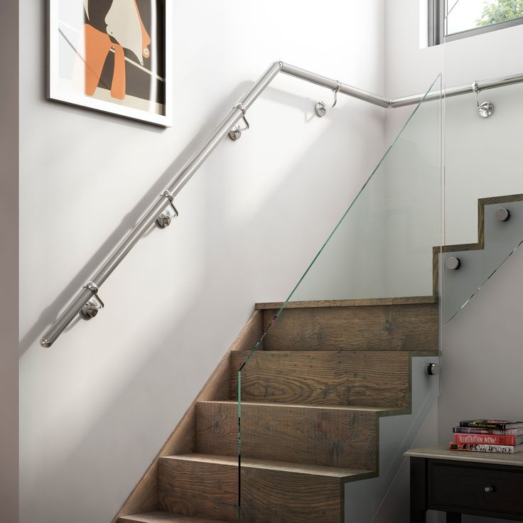 Choose From Chrome Or Nickel In Our Range Of Wall Mounted Metal Handrails.  Easily Attached To Most Types Of Wall, These Stylish Modern Handrails Look  Great.