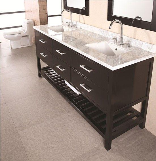 Design Element London Cambridge (double) 72-Inch Modern Bathroom Vanity Set - Espresso