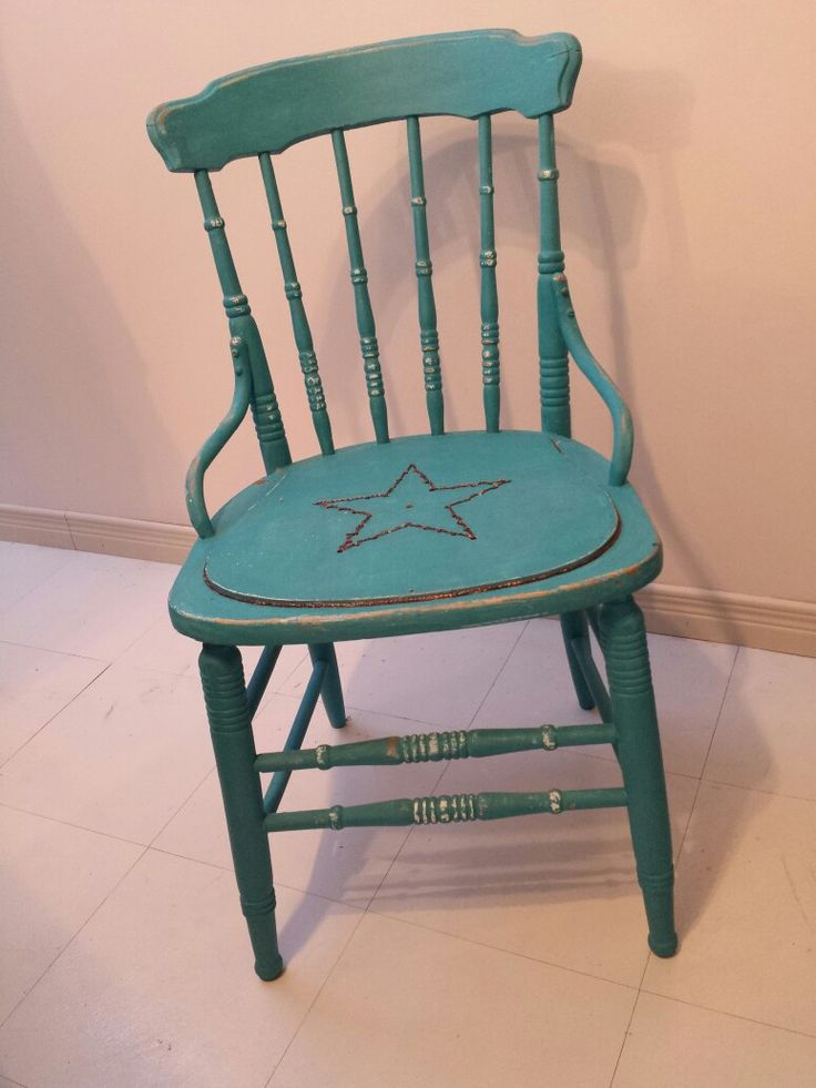 Shot through chair done in chalk paint. By Paper Wings