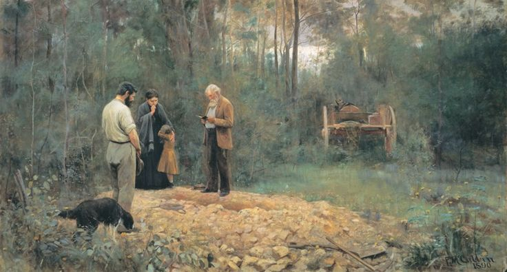 A bush burial, painting by Frederick McCubbin