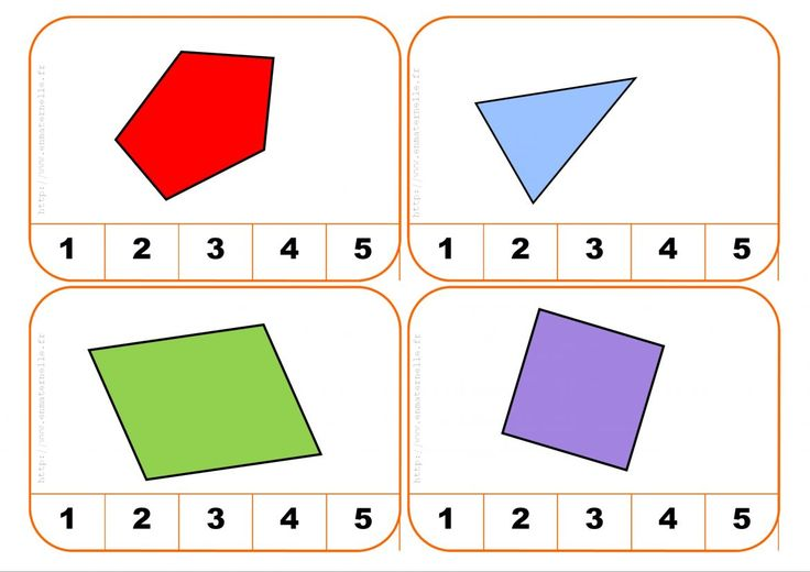 Cartes à pinces : Compter les côtés d'une forme géométrique – MC en maternelle